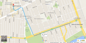 from the Fort Garry to the U of W - on foot